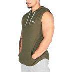 MuscleCloth Training Kapüşonlu Kolsuz T-Shirt Haki