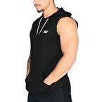 MuscleCloth Training Kapüşonlu Kolsuz T-Shirt Siyah