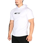 MuscleCloth Training Kapüşonlu Kısa Kollu Sweatshirt Beyaz