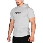 MuscleCloth Training Kapüşonlu Kısa Kollu Sweatshirt Gri