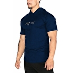 MuscleCloth Training Kapüşonlu Kısa Kollu Sweatshirt Lacivert