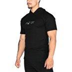 MuscleCloth Training Kapüşonlu Kısa Kollu Sweatshirt Siyah