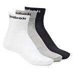 Reebok Active Core Ankle 3'lü Çorap Gri Beyaz Siyah