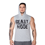 Supplementler.Com Beast Mode Kapüşonlu Kolsuz T-Shirt Gri