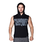 Supplementler.com Conquer Kapüşonlu Kolsuz T-Shirt Siyah
