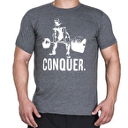 Supplementler.com Halter Conquer T-Shirt Koyu Gri