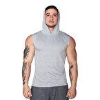 Supplementler.com Kapüşonlu Kolsuz T-Shirt Gri