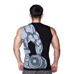 Supplementler.Com Dumbell Arm Kolsuz T-Shirt Siyah