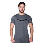 Supplementler.com Moustache T-Shirt Koyu Gri