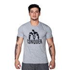 Supplementler.com Posing Conquer T-Shirt Açık Gri