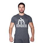 Supplementler.com Posing Conquer T-Shirt Koyu Gri