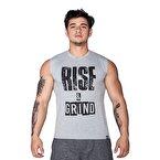 Supplementler.com Rise&Grind Kolsuz T-Shirt Gri