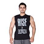 Supplementler.com Rise&Grind Kolsuz T-Shirt Siyah