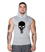 Supplementler.com Skull Kapüşonlu Kolsuz T-Shirt Gri