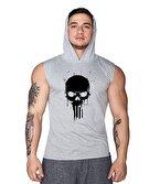 Supplementler.com Skull Kapüşonlu Kolsuz T-Shirt Gri