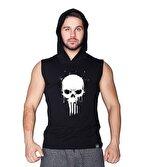 Supplementler.com Skull Kapüşonlu Kolsuz T-Shirt Siyah