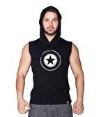 Supplementler.com Star Kapüşonlu Kolsuz T-Shirt Siyah