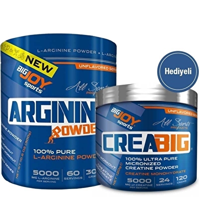 Big Joy Pure L-Arginine Powder 300 Gr + Crea Big Creatine 120 Gr Hediyeli