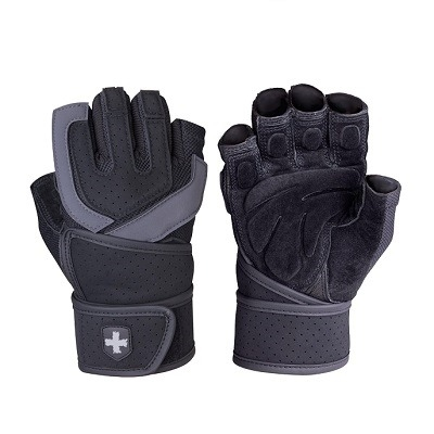 Harbinger Mens Training Grip Fitness Eldiven Wristwrap Siyah ve Gri