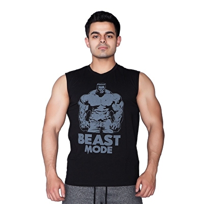 Supplementler.com Beast Mode Hlk Kolsuz T-Shirt Siyah