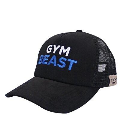 Supplementler.com Gym Beast Fileli Şapka Siyah Mavi Yazı
