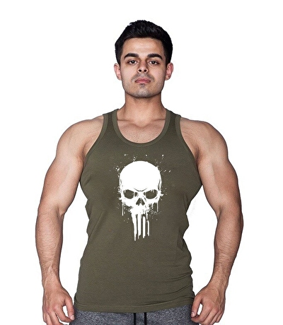 Supplementler.com Skull Tanktop Yeşil