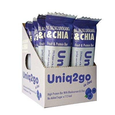 Uniq2go In Love  Frenk Üzümlü ve Chialı Protein Bar 32 Gr 12 Adet